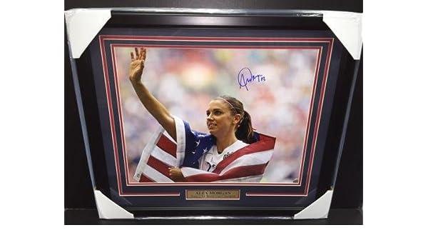 Autographed Soccer Photos Alex Morgan Signed Autographed Framed 16x20 Photo Team Usa Flag Authentic Coa