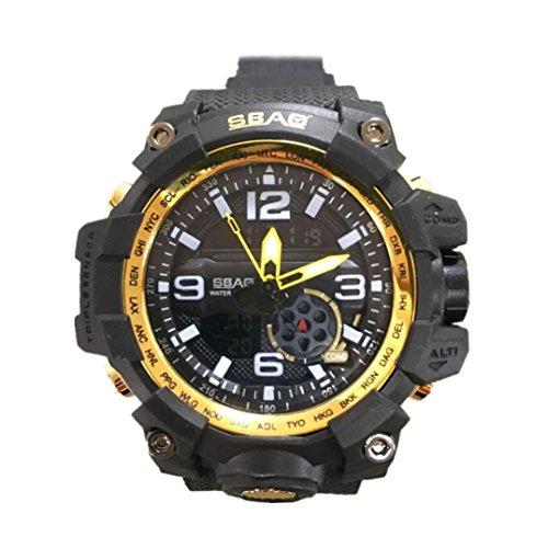 Oksale SBAO Men LED Waterproof Watch Sports Watches Shock Digital Electronic Wristwatch (Yellow) Diver Military Bracelet