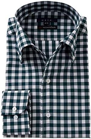 【メンズ・ワイシャツ・カッターシャツ】スリム・長袖・綿100%・イタリアンカラー・ボタンダウン・イージーケア