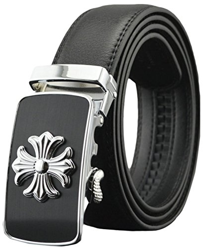 (As You Like It, Men's Dress Belt, Genuine Leather Ratchet Belt with Automatic Buckle, bt2a061bk, 61a Cross With Black Leather, Fits All Pant Sizes Below 44