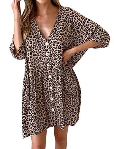 (Ezcosplay Women V Neck Leopard Print Mini Dress Loose Button Down Smock Dress)