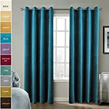 Chadmade Solid Matt Heavy Velvet Curtain Drape Panel Blackout Super Soft Nickle Grommet Blue 50Wx63L Inch (Set of 2 Panels) BIRKIN Collection Theater| Bedroom| Living Room| Hotel