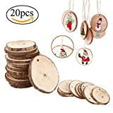"""niceEshop(TM) Wood Slices, 21pcs 2.75""""-3.14"""" Unfinished Natural Wood Slices with Holes, Round Log Discs with 33 Feet Natrual Jute Twine for DIY Crafts/Christmas/Wedding Ornaments"""