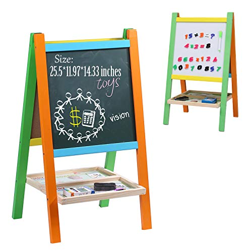 Wondertoys Kids Standing Art Easel Board with Whiteboard and Chalkboard Magnetic Alphabet Toddlers Gifts for 2 3 Year Old Boys and Girls ()