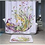 Modern design Anti-bacterial peacock Shower curtain, Width X Height / 72 x 72 inches / W * H 180 by 180 cm, polyerster, best for wife