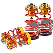 "Front/Rear 1""-4"" Adjustable Red Cold Wound Steel Suspension Lowering Spring Gold Aluminum Perches For 06-11 Honda Civic"