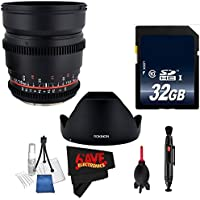 Rokinon 16mm T2.2 Cine Lens for Sony A # CV16M-S + MicroFiber Cloth + Dust Blower + Lens Pen Cleaner + Deluxe Cleaning Kit + 32GB SDHC Class 10 Memory Card Bundle