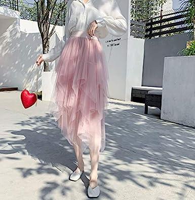 Severkill Womens Elastic Waist Ballet Layered Mesh Knee Length Tulle Tutu Skirt Evening Party Gown Prom Midi Skirts