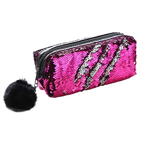 (Storage Pencil Case in Double-Sided Sequins Glitter Cosmetic Bag Mermaid Spiral Reversible Sequins Portable Students Pencil Case with Pompon Zip Closure Office (Color : Rose red+Silver))