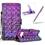Rope Leather Case for Samsung Galaxy Note 8,Stand Wallet Flip Case for Samsung Galaxy Note 8,Herzzer Bookstyle Stylish 3D Cute Swan Pattern Magnetic PU Leather with Soft Silicone Inner Back Case for Samsung Galaxy Note 8