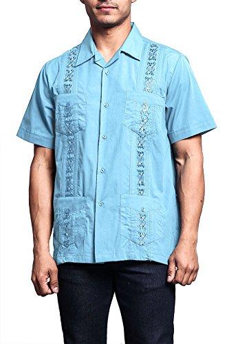 G-Style USA Men's Short Sleeve Cuban Guayabera Shirt 2000-1 - LIGHT BLUE - 3X-Large (2000 Blue Note)