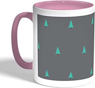 Cedar Trees Printed Coffee Mug, Pink Color