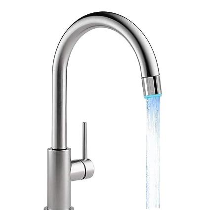 BEARCOLO - Grifo de agua con luz LED RGB cambiante, cabezal de ducha intermitente,