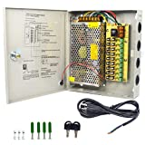 LETOUR 9 Channel DC 12V CCTV Power Supply 12.5Amp 150W Splitter Fuse Box with Power Cord and Fittings for Security Camera LED Strip LED Display Centralized Power Supply(9CH 12V 150W)
