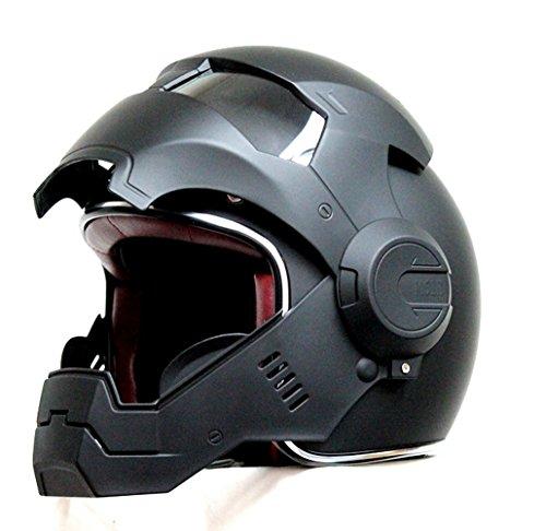 Motorcycle Atomic-Man Helmet Matt Black HJC Harly Chopper Helmet Iron Man Hero (Medium)