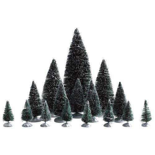 Assorted Pine Trees - Lemax Assorted Pine Trees Village Accessory - 16 Piece Set #74329
