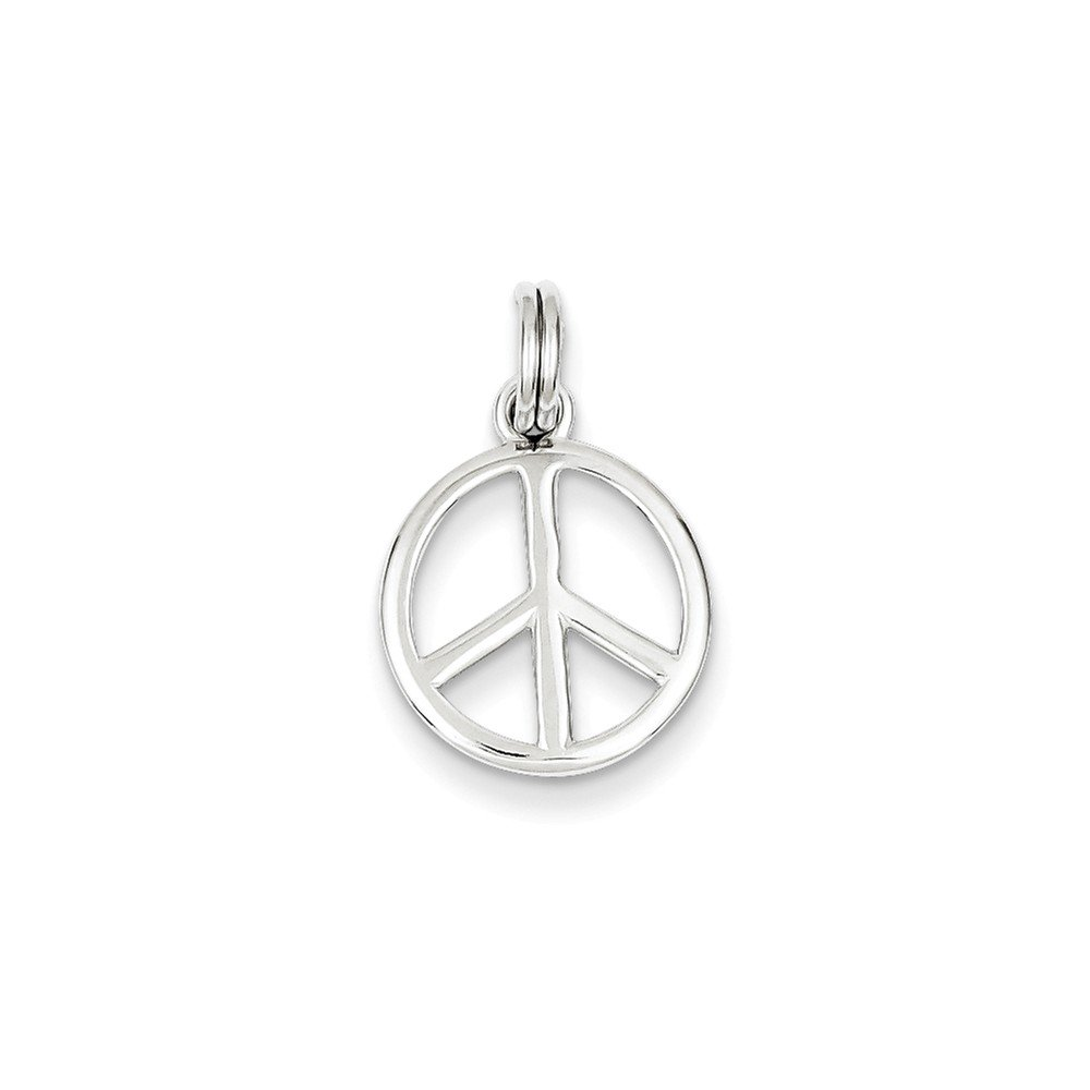 Mireval Sterling Silver Polished Peace Sign Charm on a Sterling Silver Chain Necklace 16-20