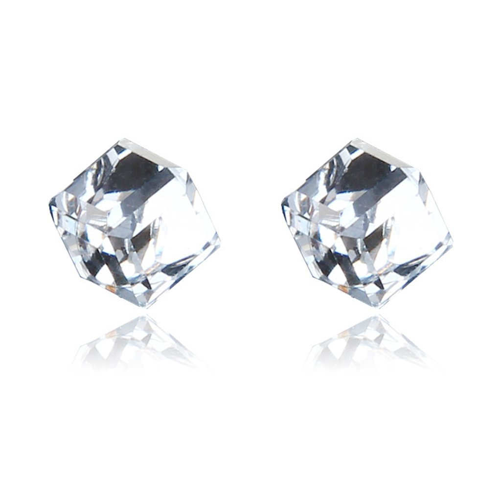 Lottoy 1 Pairs Weight Loss Magnetic Water Cube Ear Stud for Women Girls Health Magnet (White)