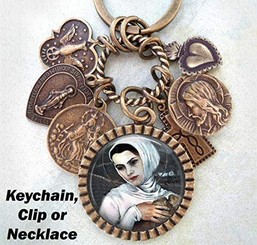 St. Elizabeth of Hungary Necklace, Keychain or Purse Clip, Patron Saint Catholic Jewelry, Confirmation Gift