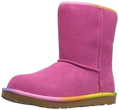 Amazon Com Ugg Girls K Classic Short Ii Rainbow Pull On