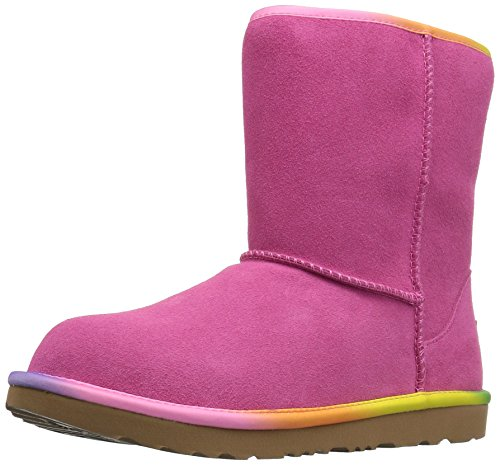 UGG Girls K Classic Short II Rainbow Pull-On Boot, Pink Azalea, 1 M US Little Kid by UGG