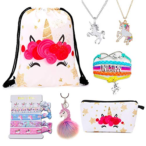DANUC Unicorn Make Up Bag For Girls Drawstring Bag Purse Necklace Bracelet Jewelry Accessories Stuff Party Favors For Kids Women