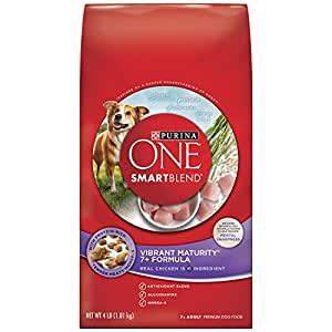 Purina ONE SmartBlend Dry Dog Food, Vibrant Maturity 7+ Formula, 4-Pound Bag, Pack of 6