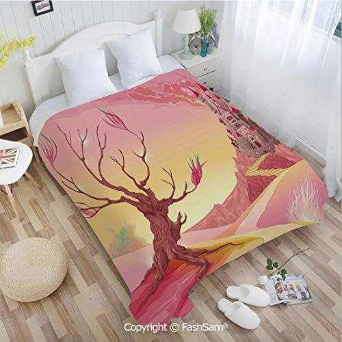 PUTIEN Unique Rectangular Flannel Blanket Princess Castle on Valley and Tree Fairytale Girls Childish Cartoon Design for Fun Playroom Decorations(59Wx78L)