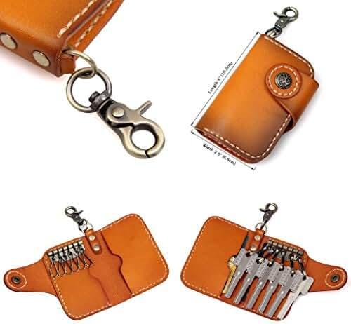 Clean Vintage Leather Keychain Key Holder Wallet- Brown Black Genuine Leather Car Key Case