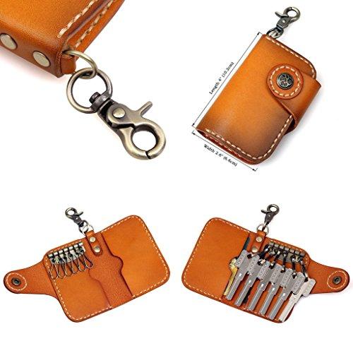 Clean Vintage Leather Keychain Key Holder Wallet- Brown Black Genuine Leather Car Key Case (Orange)