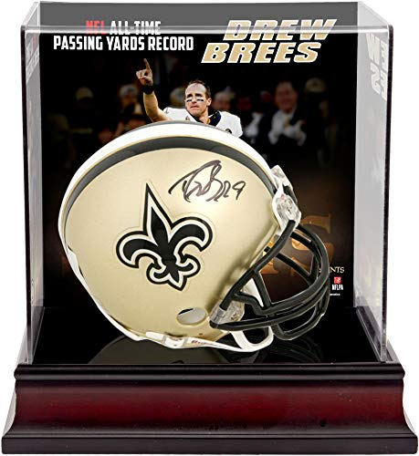 Drew Brees New Orleans Saints Autographed Riddell Mini Helmet with NFL Passing Yards Record Deluxe Mini Helmet Case - Fanatics Authentic Certified