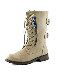 Newbestyle Women's Military Ankle Lace up Buckle Combat Credit Card Pocket Boot