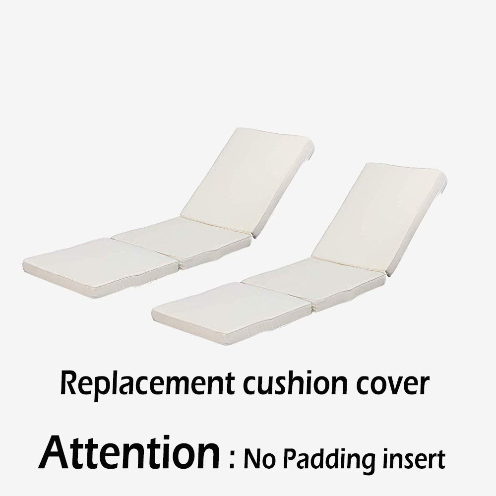 Do4U 2pcs Beige Replacement Chaise Lounge Chair Set Cushion Cover (Beige Replace Cushion Cover)