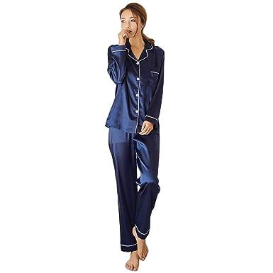 b64c83052 Naughtyspicy Women's Satin Pajamas, Pajamas Sets 2 Piece, Long Sleeve Button  Down Pj Set