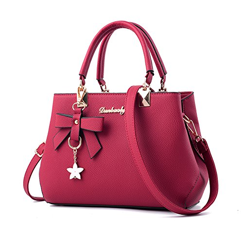 - Fantastic Zone Women Handbags Fashion Handbags for Women PU Leather Shoulder Bags Messenger Tote Bags,Wine Red,One Size