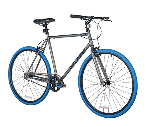 Takara Sugiyama Flat Bar Fixie Bike, 700c, Gray/Blue, Lar...