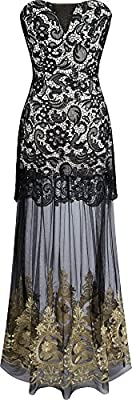 Angel-fashions Women's Strapless Lace Embroidery Transparent Tulle Black Wedding Dress