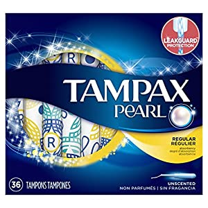 Tampax Pearl Plastic Tampons, Regular Absorbency, Unscented, 36 Count (Packaging May Vary)