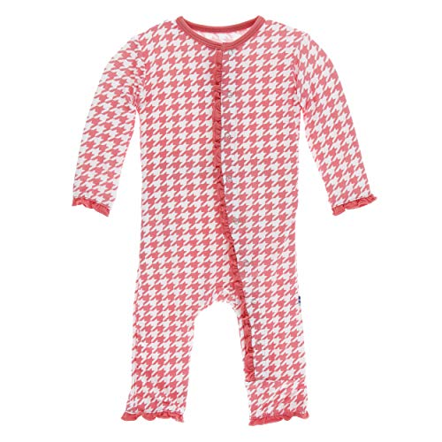 Kickee Pants Little Girls Print Layette Classic Ruffle Coverall with Snaps - English Rose Houndstooth, 6-9 Months ()
