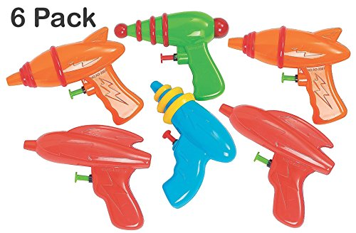 Kidsco Space Squirt Water Guns 5 Inches - Pack of 6 - Assorted Colors and Shapes Water Squirters – for Kids Great Party Favors, Bag Stuffers, Fun, Toy, Gift, Prize