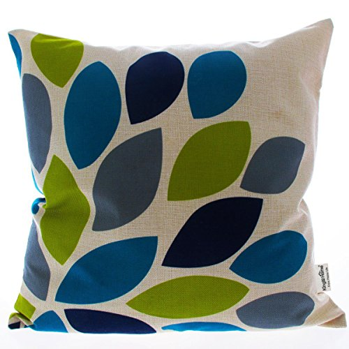 Kingla Home Decorative Cotton Linen Cushion Covers 18 by 18 Inch Square Throw Pillow Case