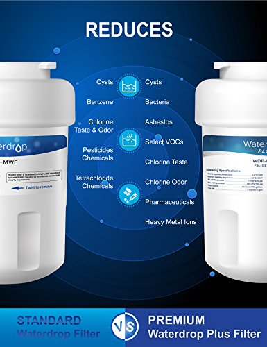 Waterdrop Plus MWF Double Lifetime Replacement Refrigerator Water Filter, Compatible with GE MWF, MWFP, MWFA, GWF, GWFA, SmartWater, Kenmore 9991, 46-9991, 469991 (2 Pack) by Waterdrop (Image #3)