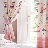 Ballerina Pencil Pleat Curtains Pair 66 x 72 inch Fully Lined Curtains with Tiebacks Girl's Children's