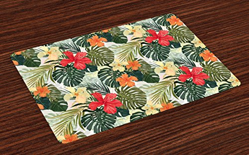 - Lunarable Leaf Place Mats Set of 4, Hawaiian Summer Tropical Island Vegetation Leaves with Hibiscus Flowers, Washable Fabric Placemats for Dining Room Kitchen Table Decoration, Green Orange and Yellow
