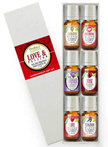 Love & Passion Set 100% Pure, Best Therapeutic Grade Essential Oil Kit - 6/10mL (Adoration, Aphrodisiac, Lavender, Love, Rose, and Sensation)