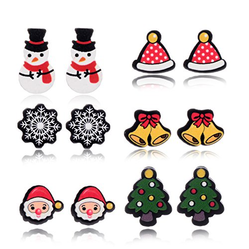 6 Pairs Christmas Holiday Xmas Earring Set for Girls Kids Hypoallergenic