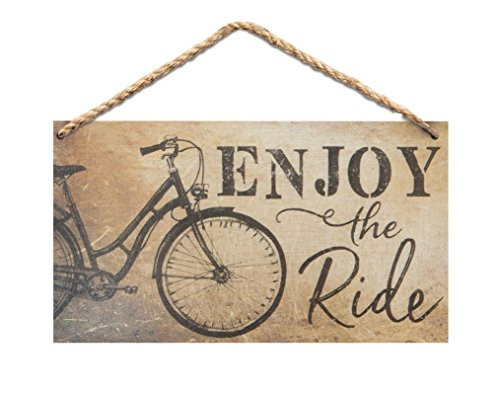 P. Graham Dunn Enjoy The Ride Bicycle Wood 6 x 3.5 Printed Overlay Mini Wall Hanging Plaque Sign