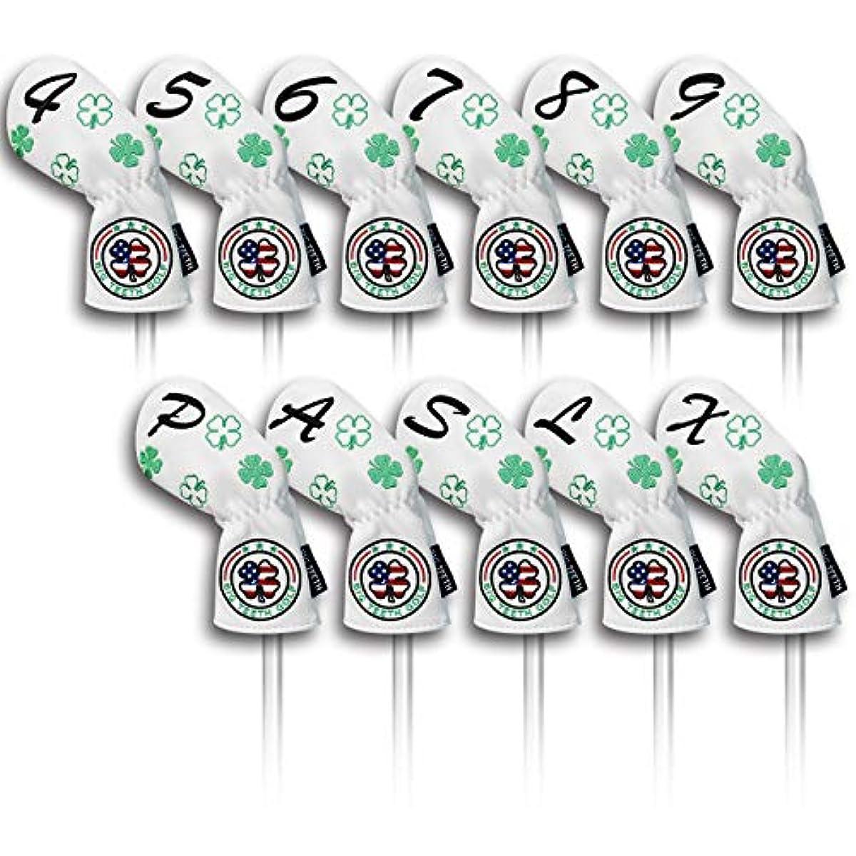 [해외] BIG TEETH(빅 teeth) 골프 아이언 커버 헤드 커버 세트 11 매들어감(4〜9,P,A,S,L,X)번호 자수 롱 넥 에라 스틱 개폐 클로버 자수 합성피혁성 레져 화이트