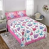 Disney Princess Kids Bedding Soft Microfiber Sheet Set Full Size 4 Piece Pack Pink/White