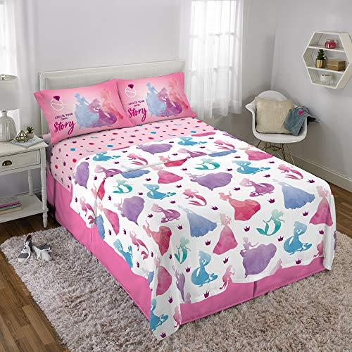 Disney Princess Kids Bedding Soft Microfiber Sheet Set Full Size 4 Piece Pack Pink/White ()